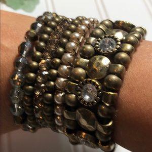 Bronze bracelet set chunky layered